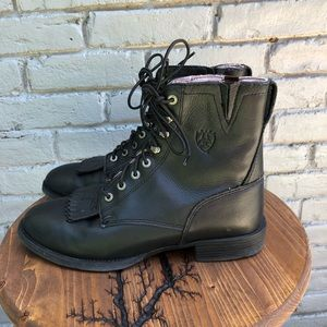 Ariat Black Leather Heritage Lacer II Boots sz 9B